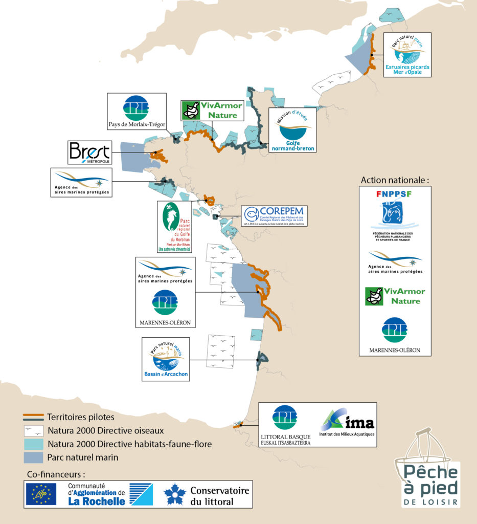 Territories and beneficiaries of the Pecheapiedeloisir Life project